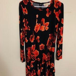 Michael Kors Abstract Red Print Long Sleeve Dress
